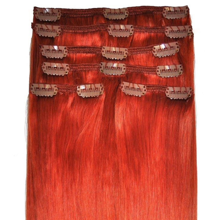 Bright ginger hair extensions